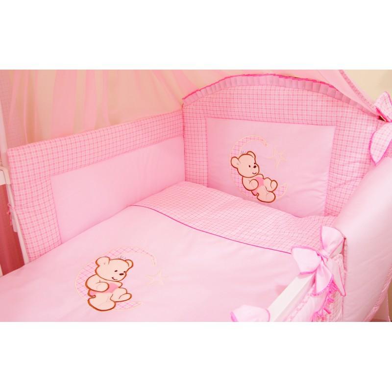 Różowa pościel niemowlęca w kratkę