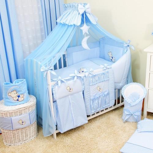 Zestaw łóżeczko z wyposażeniem. 17 części w komplecie z materacem i pościelą.  Miś na księżycu niebieski