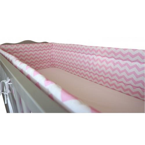 Ochraniacz dookoła łóżeczka zygzak różowy