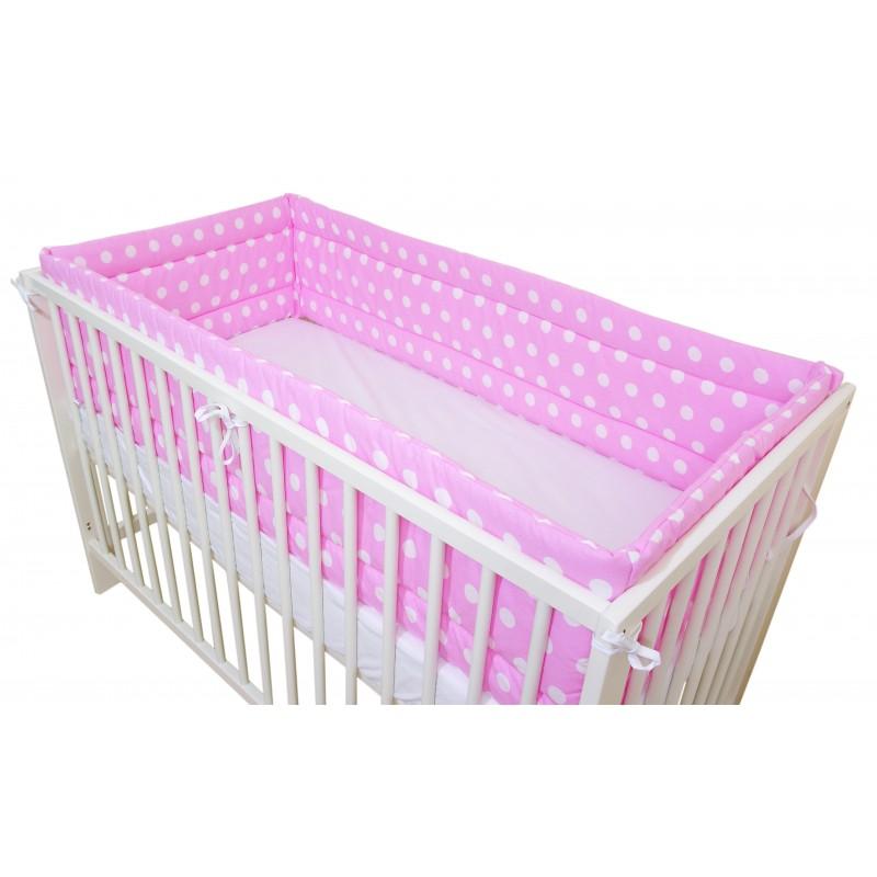 Ochraniacz dookoła łóżeczka - różowy w grochy