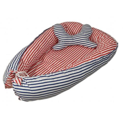 Kokon + poduszka motyl Kolorowe grochy i czerwone paski
