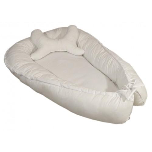 Biały kokon niemowlęcy z poduszką