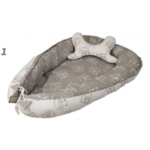 Kokon + poduszka motyl Słonie i zygzak szary