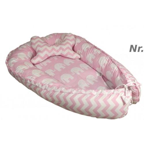 Kokon + poduszka motyl Słonie i zygzak różowy
