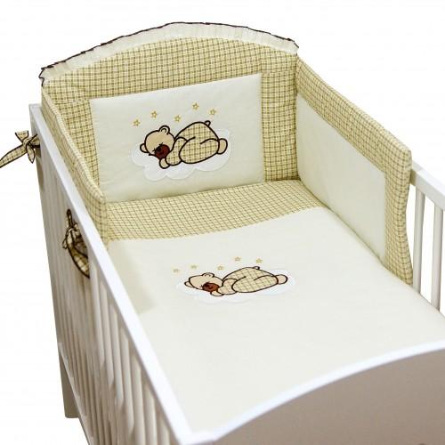 Pościel niemowlęca w kratkę Miś na chmurce