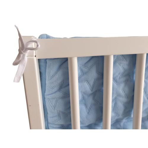 Ochraniacz dł.210cm Velvet Niebieski do łóżeczka 70x140cm