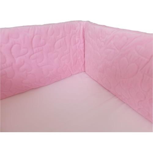 Ochraniacz dł.210cm Velvet Różowy do łóżeczka 70x140cm