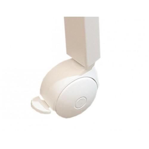 Kółka - komplet 4 kółek w kolorze białym z hamulcem