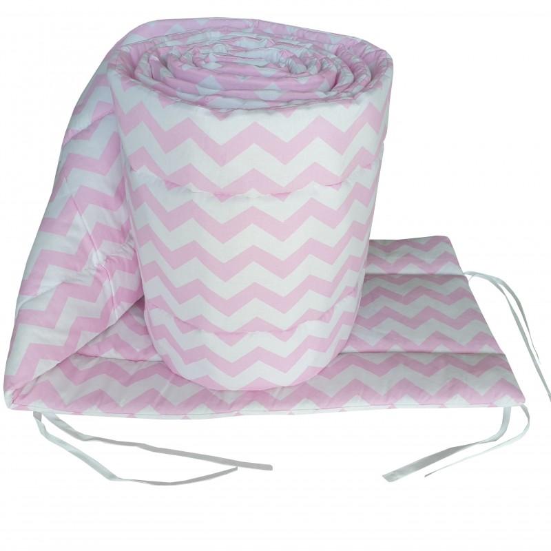 Ochraniacz dookoła łóżeczka rolka zygzak różowy