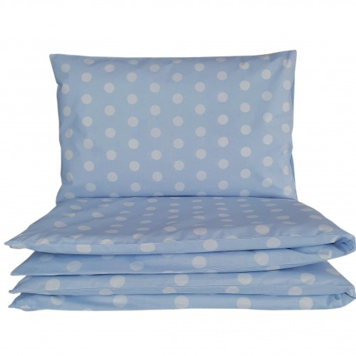 Pościel do łóżeczka we wzorze błękitnych grochów