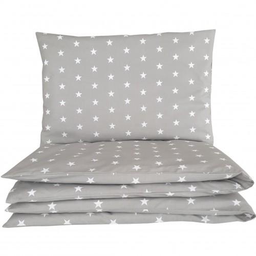 Poszewki do łóżeczka we wzorze gwiazdek na szarym tle