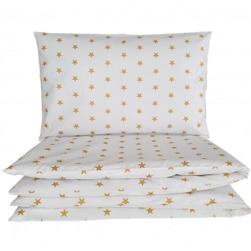Poszewki do łóżeczka w złote gwiazdki