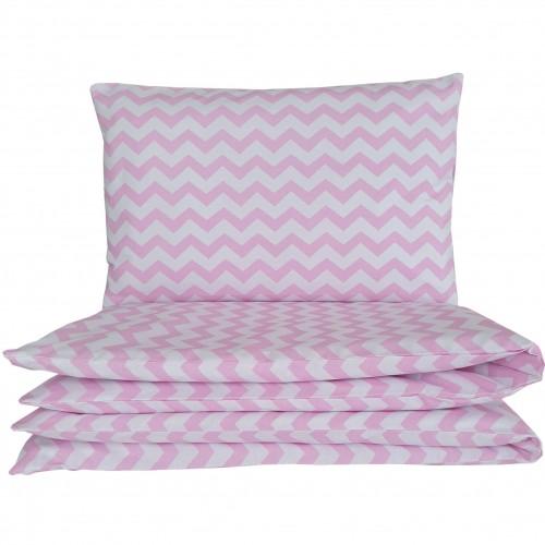 Poszewki do łóżeczka - różowy zygzak