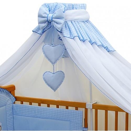 Moskitiera do łóżeczka niebieska kratka