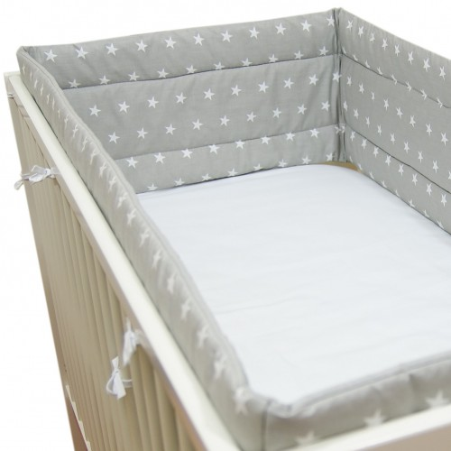 Ochraniacz do łóżeczka szary w gwiazdki