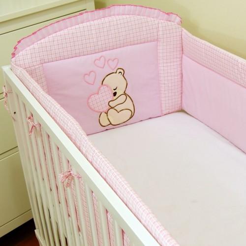 Ochraniacz do łóżeczaka Miś Serce Różowy