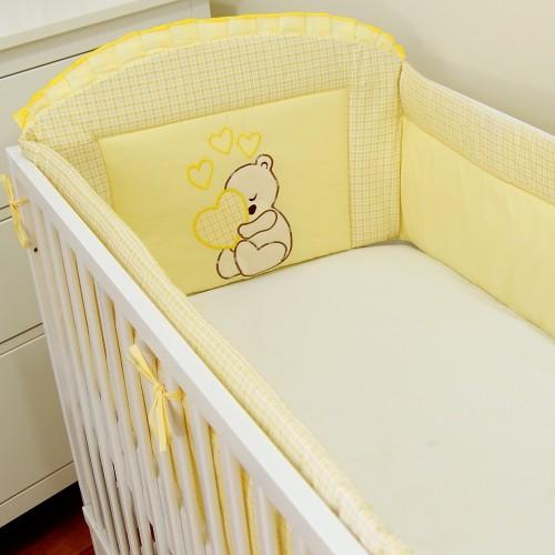 Ochraniacz do łóżeczka Miś Serce Żółty
