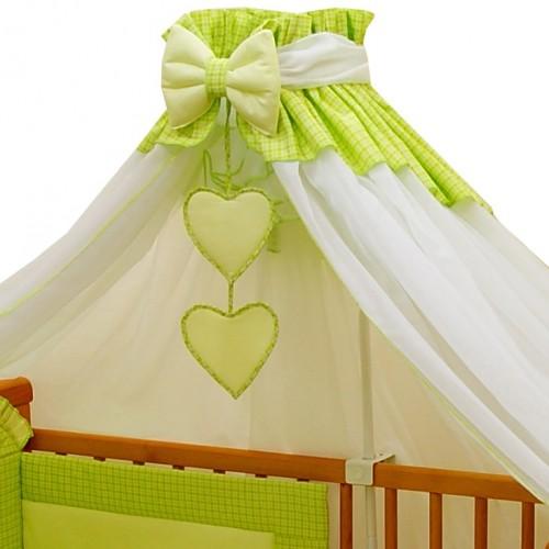 Zielony baldachim do łóżeczka
