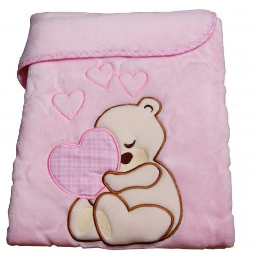 Kocyk niemowlęcy różowy 75x100cm Miś Serce