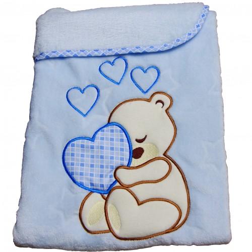 Kocyk niemowlęcy niebieski 75x100cm Miś Serce