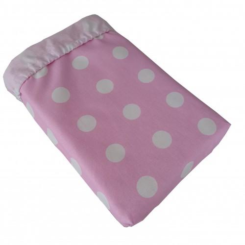 Prześcieradło bawełniane do łóżeczka - Różowe grochy