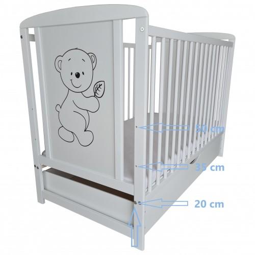 Łóżeczko dla niemowląt z Szufladą, Łóżeczko dziecięce drewniane, TIMMI