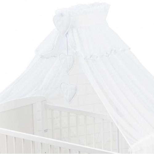 Zamknięta moskitiera z serduszkami w białym kolorze - Assa