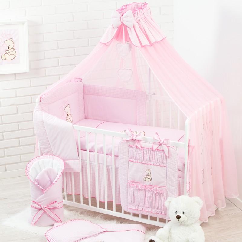 Różowe łóżeczko z wyposażeniem. 17 elementów, w tym materac, pościel i poszewki