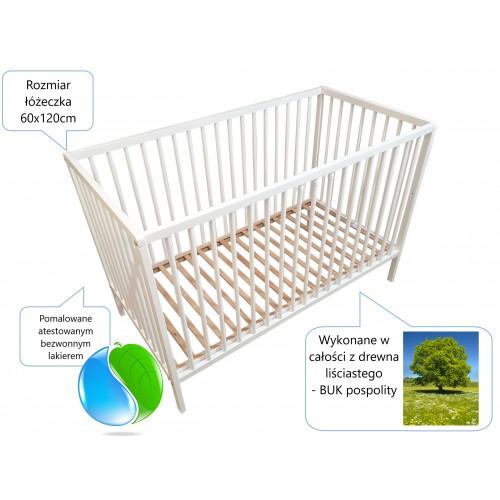 Łóżeczko dla niemowląt, Łóżeczko dziecięce drewniane, Happy, Łóżeczko białe