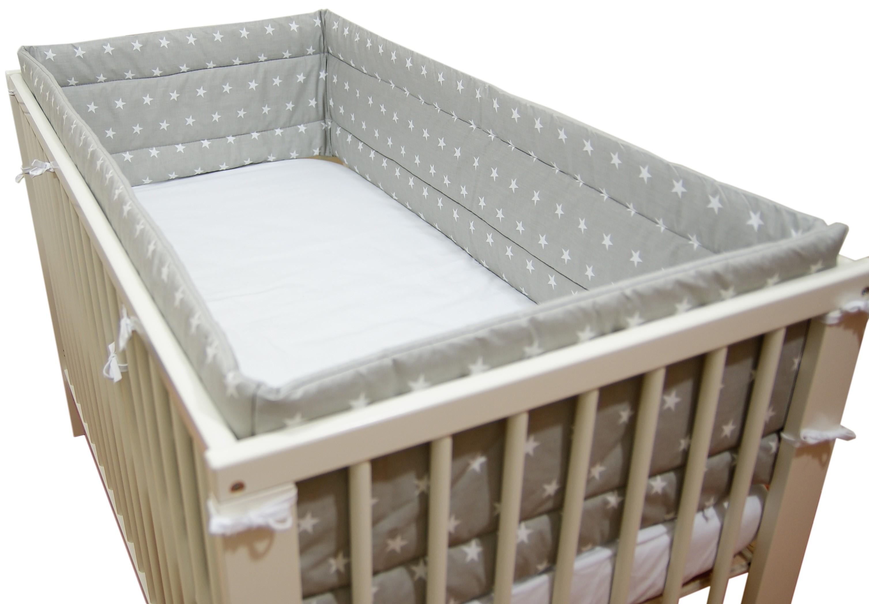 Bawełniany ochraniacz do łóżeczka szary